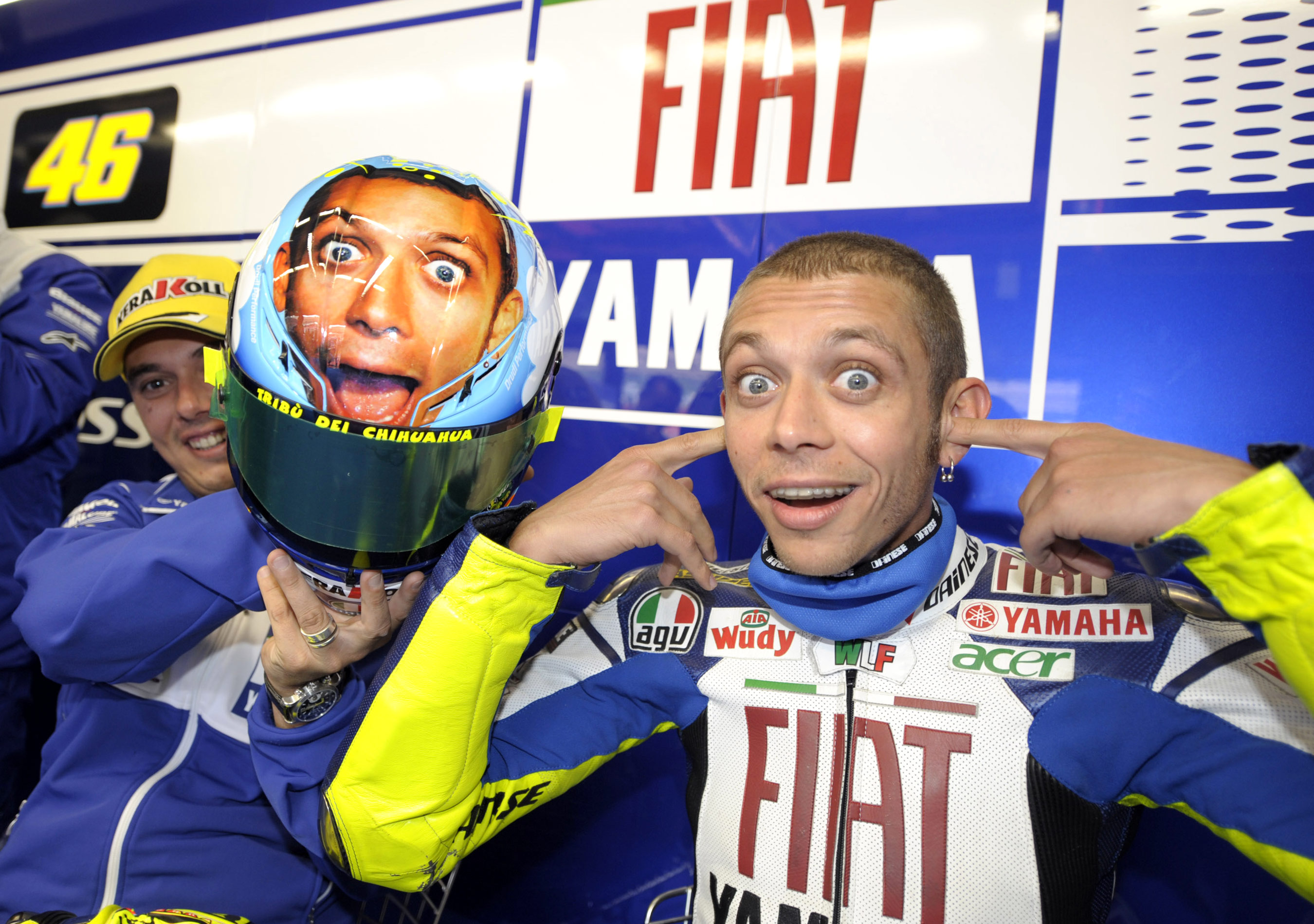 "Valentino Rossi's ""Face"" helmet at Mugello."