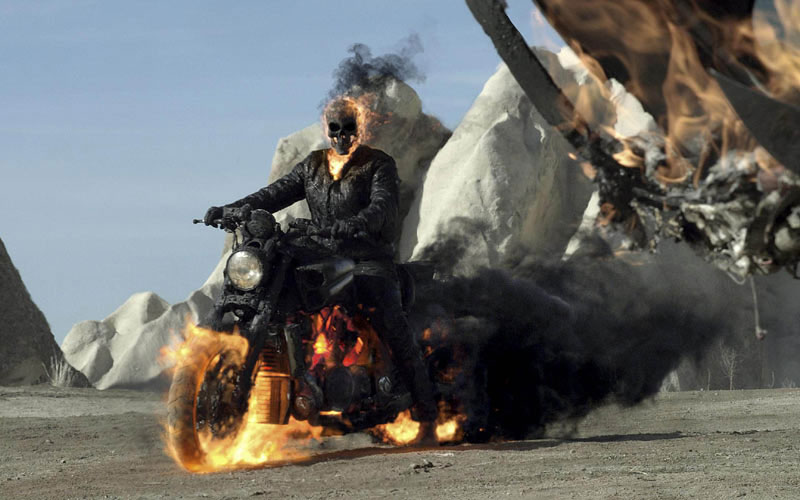 "Yamaha v max co stars with nic cage in ""ghost rider spirit of"