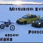 Porsche GT3RS, Mitsubishi EVO 9, Yamaha R1 and WR450F Racing… On Ice! [Video]