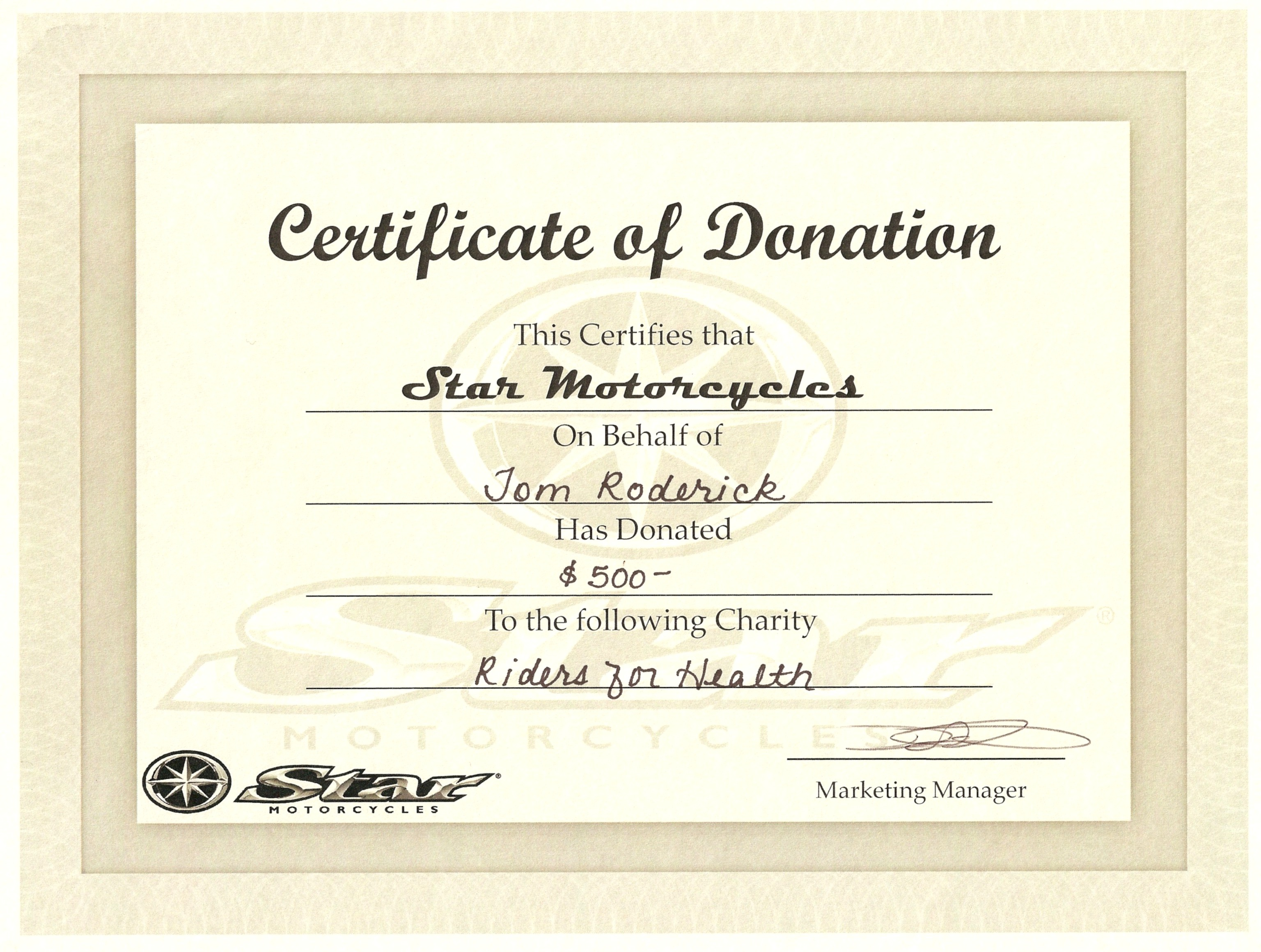 Star s 11k charitable donation news for Certificate of appreciation for donation template