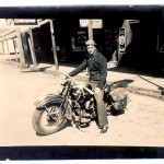 Wallace Van Sandt and his Harley-Davidson WLD, stopping for a brief photo before venturing on to his next destination.
