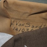 Van Sandt's government-issued uniform with his serial number still intact.