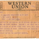 The telegram Wallace's father, Homer, received to inform the family of the bad news. Back then, this was the impersonal manner in which status updates were delivered.