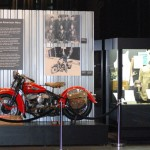 The WLD exhibit at the Harley-Davidson Museum. Beside the motorcycle is the display of Van Sandt's belongings.