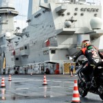 Max Biaggi Tests Pirelli Angel GT Tires on an Aircraft Carrier – Video