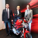 Ducati Brazil Managing Director Ricardo Susini, CEO Claudio Domenicali and Ducati sales director Robert Righi