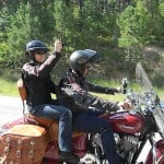 The 2014 Indian Chiefs were highly featured in the Legends Ride. That's Indian honcho Robert Pandya with Robin Speer.