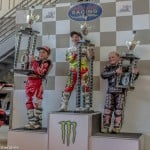 The future is secure for American Speedway! The Mini 150cc Second Division podium (left to right): Logan Heddon (second place), Sterling Martin (champion) and Sam Hagon (third place).