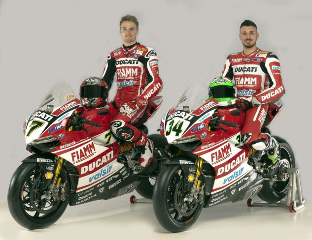 Chaz Davies and Davide Giugliano on the Ducati 1199 Panigale Superbike