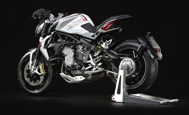 MV Agusta Brutale 800 Dragster white left rear distant profile