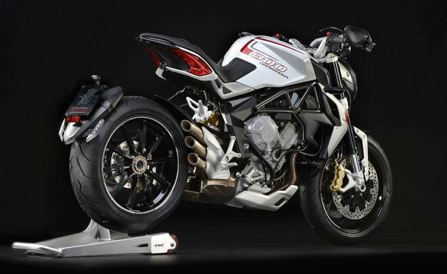 MV Agusta Brutale 800 Dragster white right rear distant profile