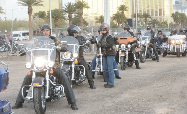Harley Owners Group members rev their engines to signal the ground shaking for the new Las Vegas Harley-Davidson dealership on the Las Vegas Strip