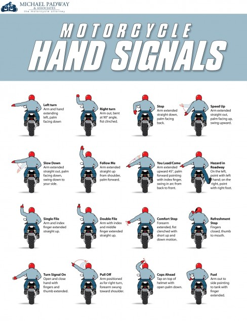 Motocycle hand signal flyer