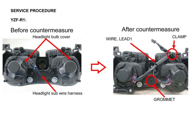 2012 Yamaha YZF-R1 headlight diagram