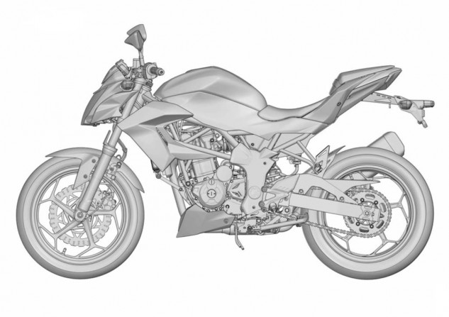 Naked Kawasaki 250 single render left