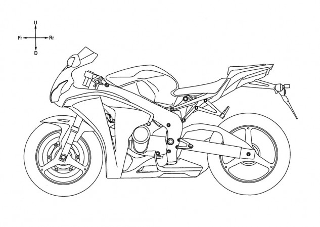 We cleaned up the dashed lines and arrows from the diagram, revealing Honda used the 2011 CBR1000RR as a template for the sketches. Note how the crankcase is higher than that on the CBR1000RR's I-4 engine. This is to accommodate the engine's deep oil pan.