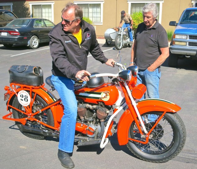 Steve Wright checks out Randy Aron's 1928 Harley JD at the 2013 Bud Ekins Memorial Ride