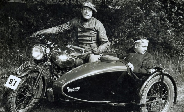 George Brough astride a Brough Superior sidecar