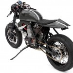 Honda CRF450X cafe racer rear left profile