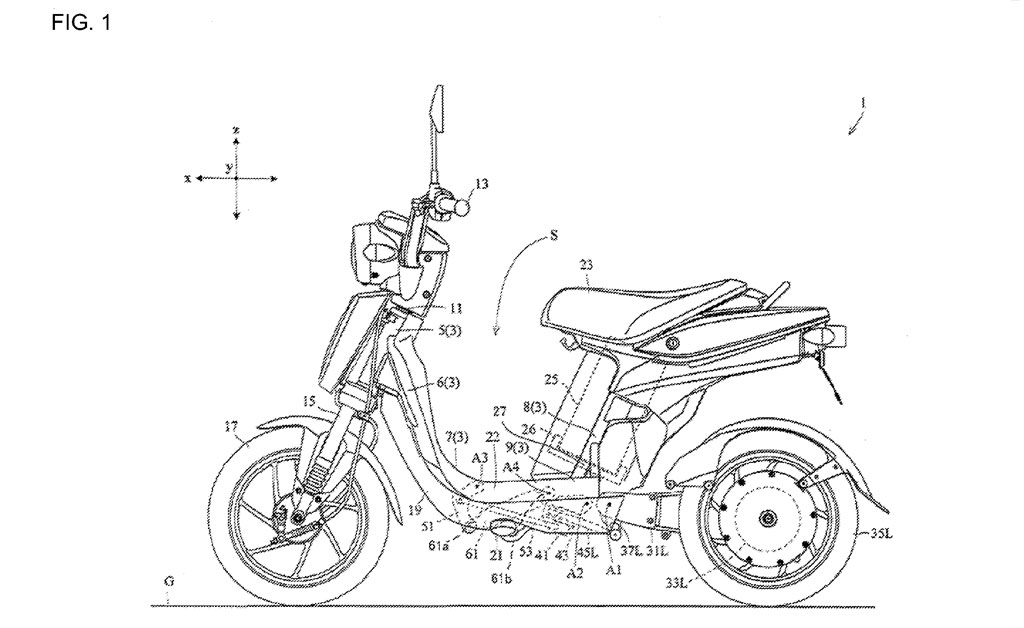 yamaha files patents for leaning three wheeled electric. Black Bedroom Furniture Sets. Home Design Ideas