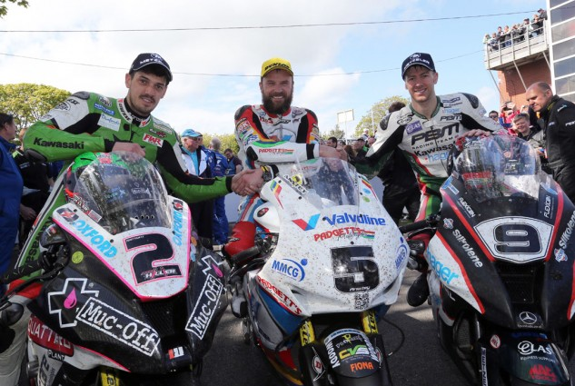 James Hillier (left, third place), Bruce Anstey (center, first place) and Ian Hutchinson (right, second place) formed the RST Superbike TT podium. Photo by Stephen Davison at Pacemaker Press International.