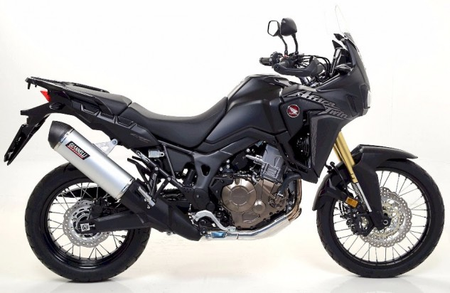 """Pictured is the Giannelli by Arrow Maxi Oval Aluminum silencer, an exhaust-design specifically selected for its proven reliability. The Giannelli Maxi Oval exhaust for the 2016 Africa Twin are also available in """"Dark"""" Aluminum and Titanium."""