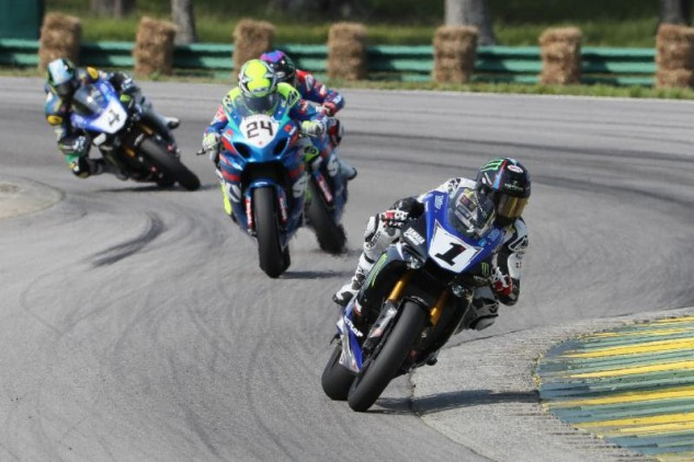The Fab Four in the MotoAmerica Superbike Championship are separated by just 26 points after four rounds (eight races). Cameron Beaubier (1) has won four races and is 11 points behind his teammate Josh Hayes in the title chase. Toni Elias (24) is fourth. Photo by Brian J. Nelson.