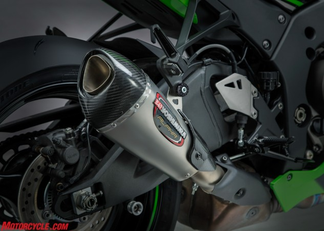 Alpha T Street Series stainless slip-on for Kawasaki ZX-10R complete with carbon heat shield