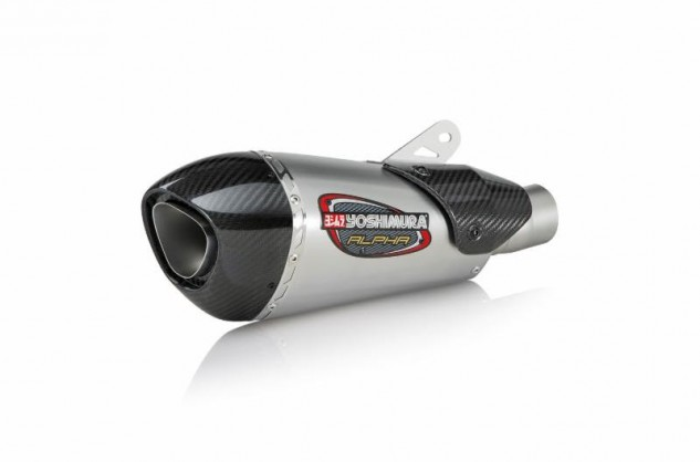 Alpha T stainless muffler with exclusive Works Finish complete with carbon fiber heat shield