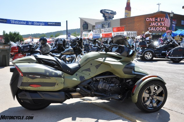 A custom, military-themed Can-Am Spyder F3-T presented to the Road Warrior Foundation by BRP today in Sturgis.