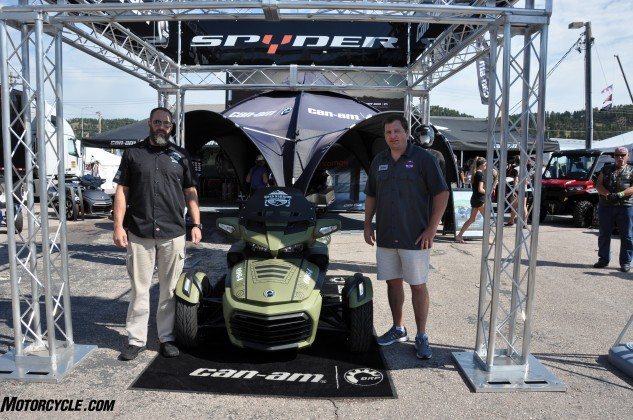 Chris Little and Steve Berger of the Road Warrior Foundation with their new military-themed Can-Am Spyder that was presented to them by BRP this morning in Sturgis.
