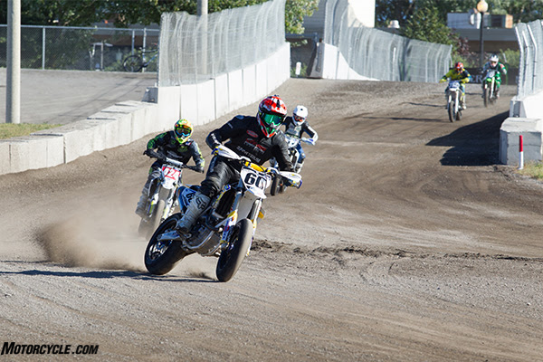 Josh McLean (60) scored his first AMA Supermoto Pro Lites win in his debut race in the 250 class.