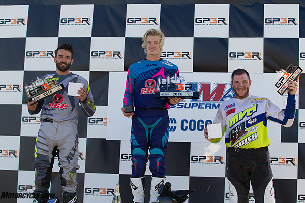 (Left to right) Dustin Hoffman, Gage McAllister and Shane Narbonne topped the podium in the second Pro Open main.