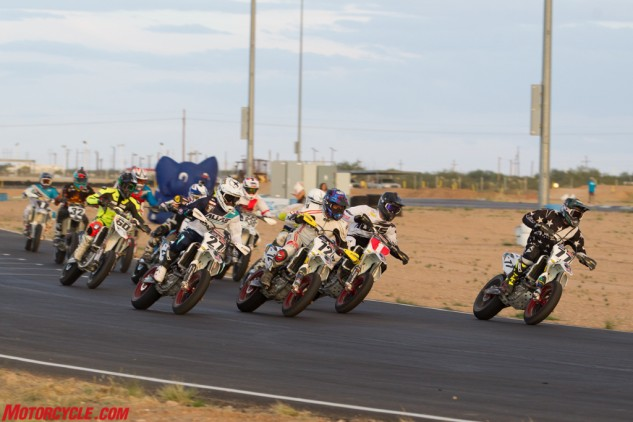Road racer Larry Pegram (72) made a Supermoto comeback at Tucson and took the holeshot in both Mains.