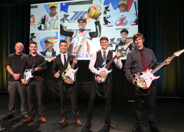 (From left to right) Dunlop's Mick Jackson, Cameron Beaubier, Josh Herrin, Garrett Gerloff and Bryce Prince celebrate their MotoAmerica Championships.