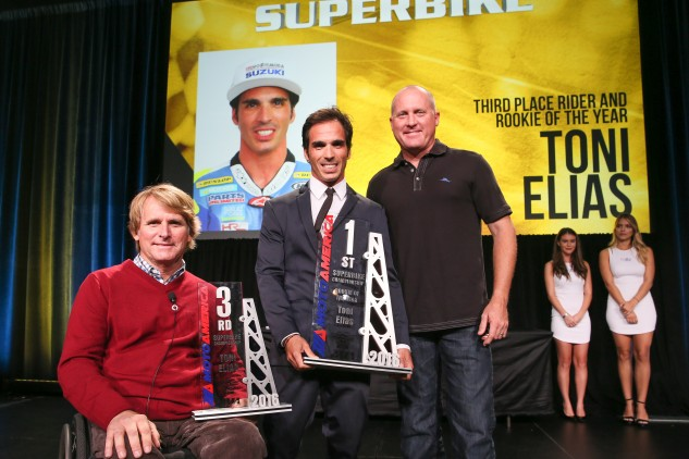 Wayne Rainey and Kenny Roberts Jr. presented Toni Elias with his MotoAmerica Superbike Rookie of the Year award at the Night of Champions in Orlando.