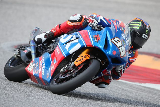 Roger Hayden rode his Yoshimura Suzuki to the fastest time at the COTA test. | Photo: Brian J. Nelson