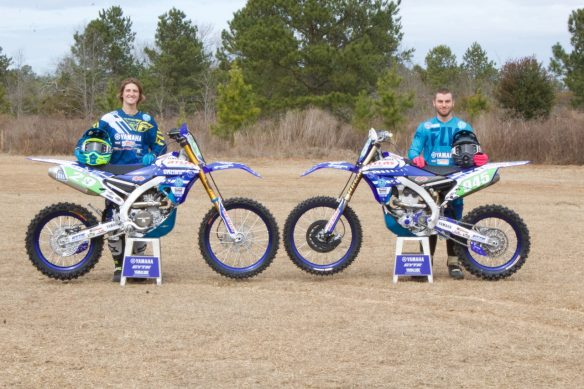 022318-Yamaha-2018-bLU-cRU-racers-mattison and barrett with bikes static